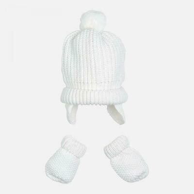 White Hat & Mitten Set 9608 - 0m