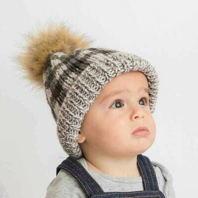 Grey Buffalo Check Hat - L