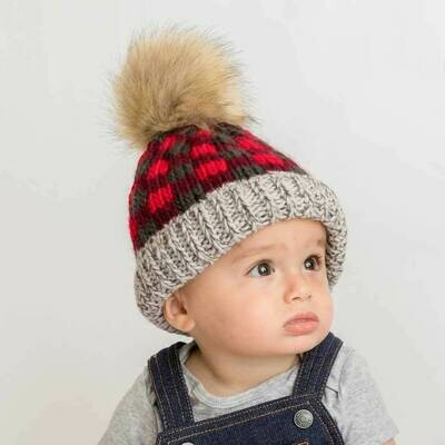 Red Buffalo Check Hat - L