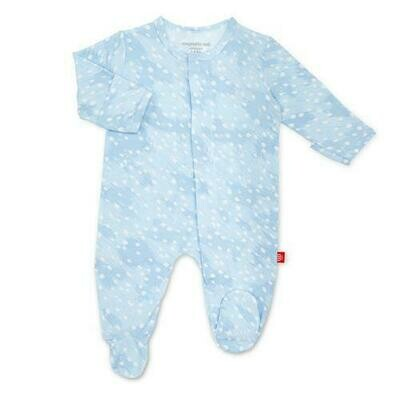 Blue Doeskin Footie 3/6m