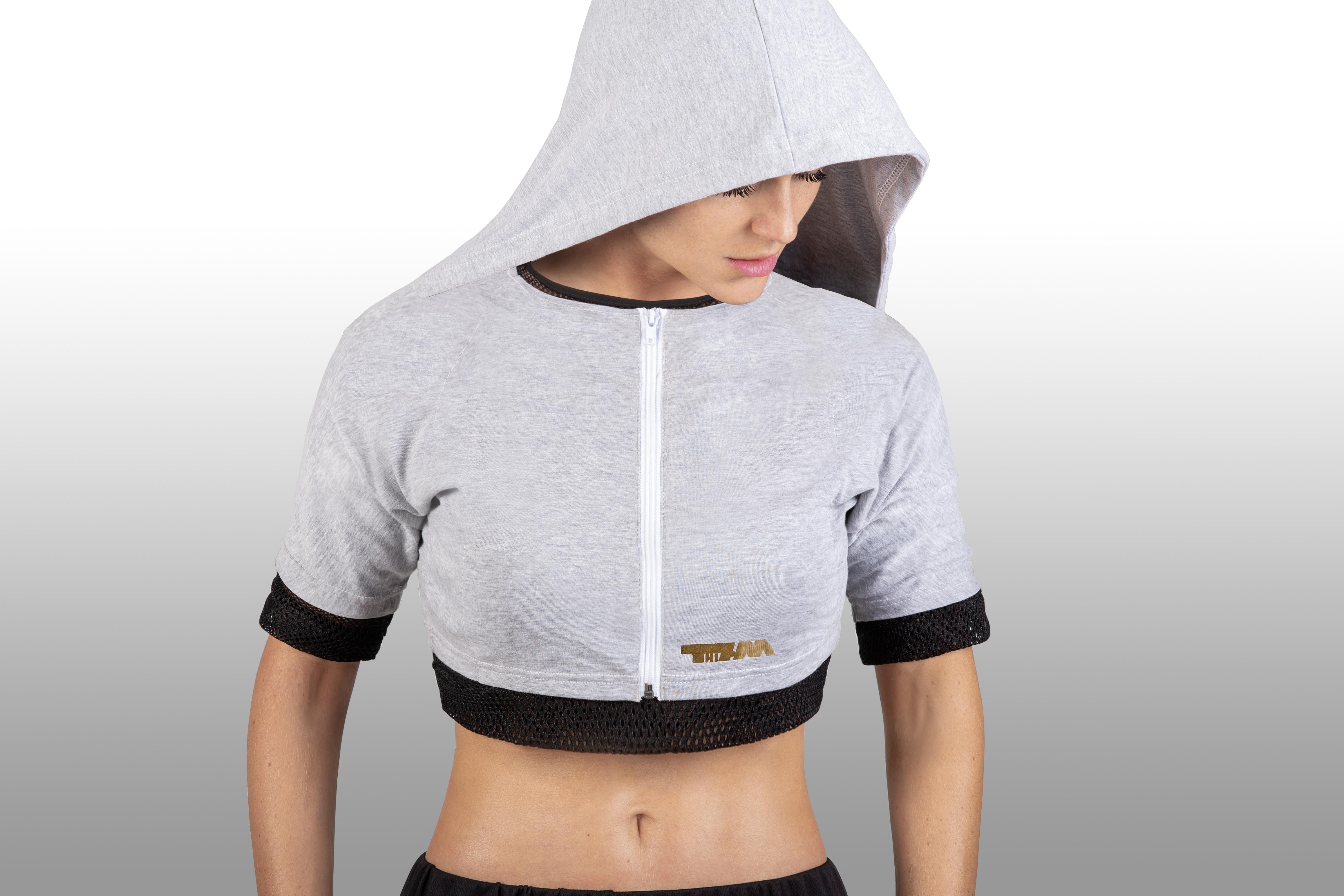 2xME female hoodie light grey 2in1