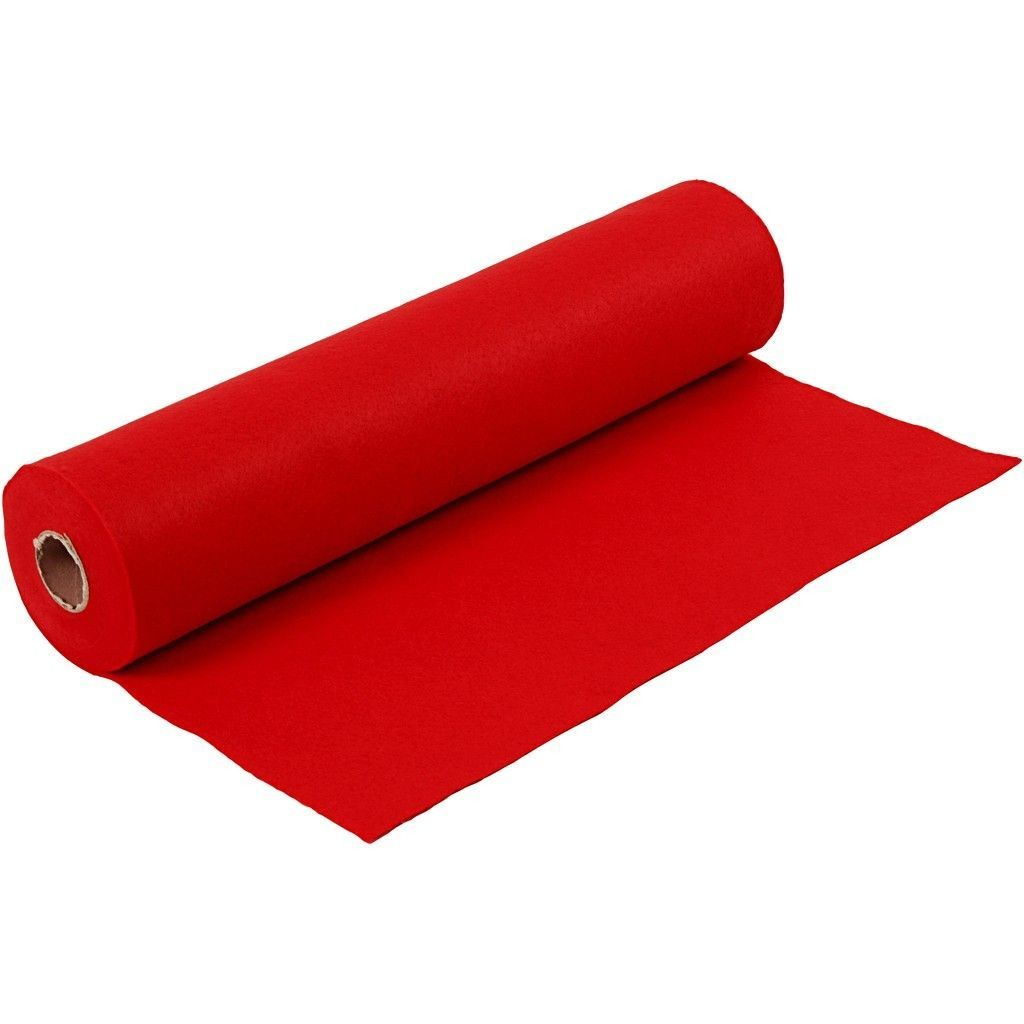 Felt - Bright Red (by the metre) W: 45 cm, thickness 1,5 mm, 180-200 g/m2