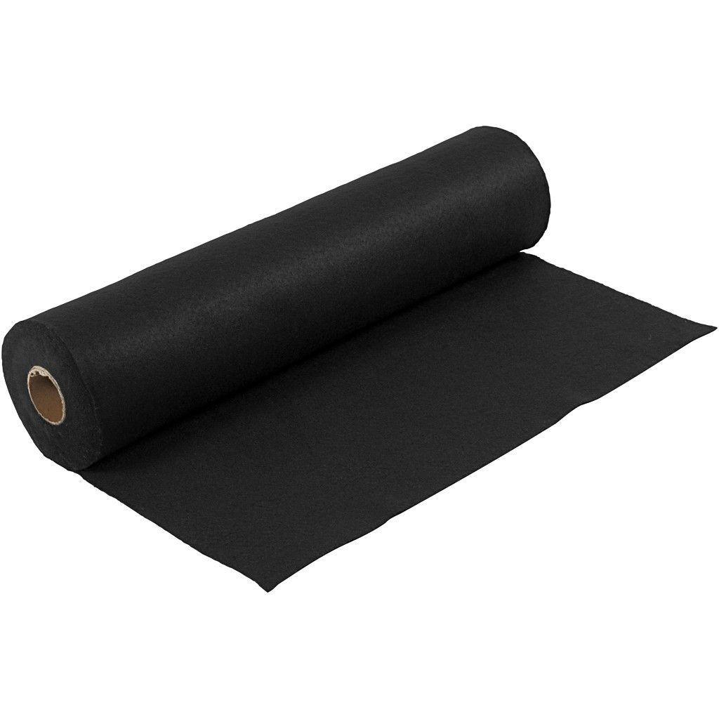 Felt - Black (by the metre) W: 45 cm, thickness 1,5 mm, 180-200 g/m2