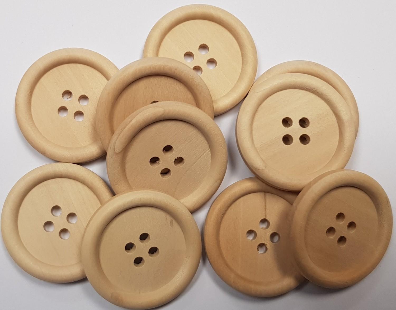 30mm Wooden Button x 10
