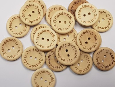 'Handmade with love' Wooden Button 25mm x 20