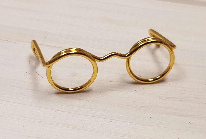 Novelty Glasses, W: 25 mm, inner size 9 mm, gold, 10pcs