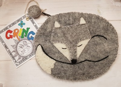 Fox Purse (Grey) 16cm x 13cm - 100% Wool