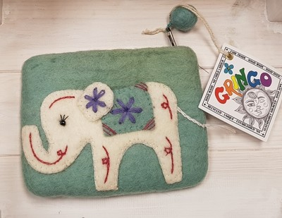 Felt Elephant Purse (Pale Turquoise) - 14 x 11cm - 100% Wool