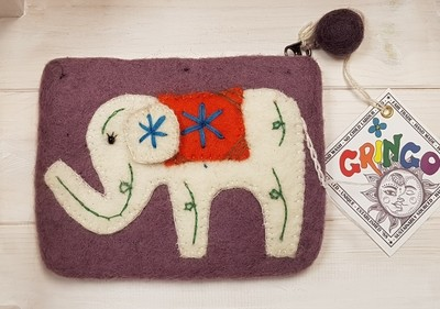 Felt Elephant Purse (Plum) - 14 x 11cm - 100% Wool