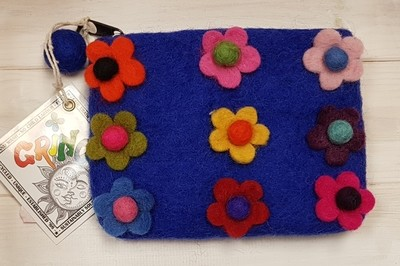 Felt Flowers Purse (Blue) - 14 x 11cm - 100% Wool