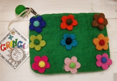 Felt Flowers Purse (Green) - 14 x 11cm - 100% Wool