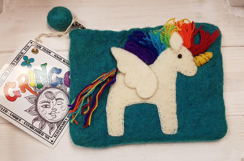 Felt Unicorn Purse (Turquoise) - 14 x 11cm - 100% Wool