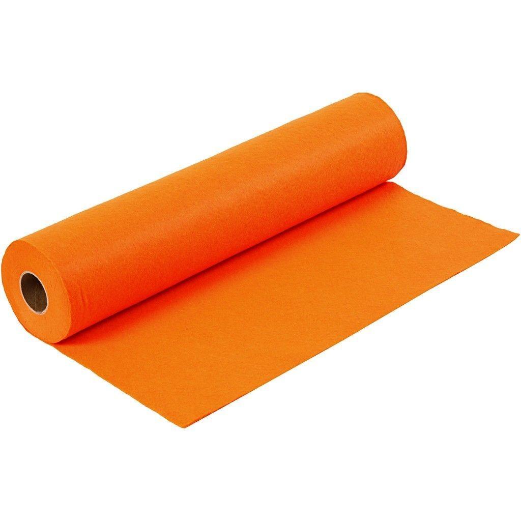 Felt - Orange (by the metre) W: 45 cm, thickness 1,5 mm, 180-200 g/m2