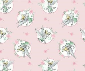 DISNEY Tinkerbell- 100% Cotton Fabric - Light Pink