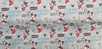 DISNEY Mickey Mouse 'Oh Boy' - 100% Cotton Fabric. Colour - Rainwater (blue/green)
