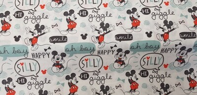 DISNEY Mickey Mouse 'Oh Boy' - 100% Cotton Fabric. Colour - White