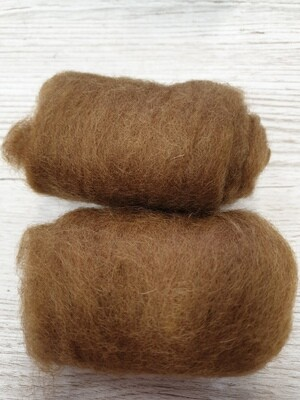 Carded Felting Wool  20 g - Caramel Coffee