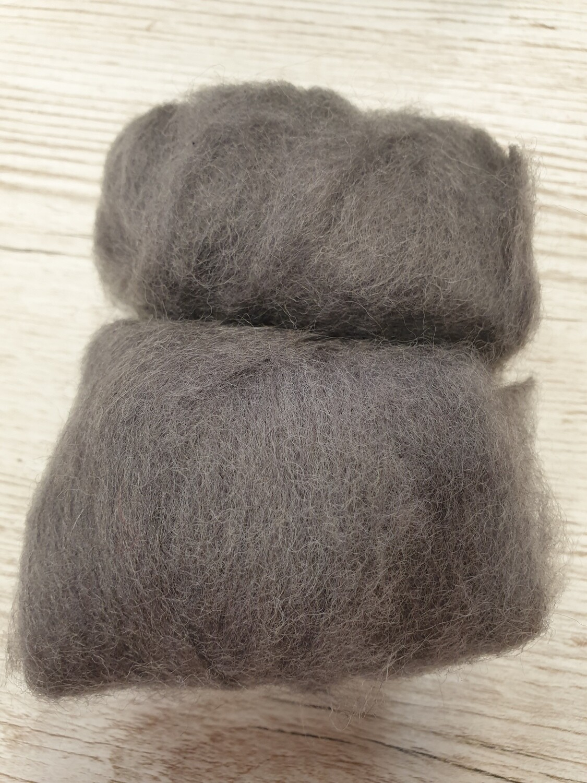 Carded Felting Wool  20 g - Steel Grey