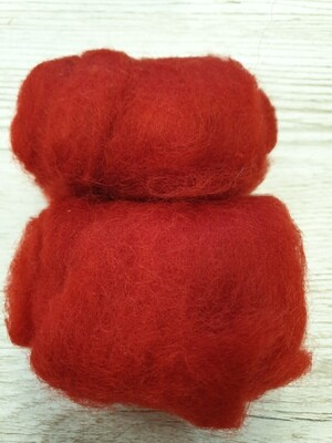 Carded Felting Wool  20 g - Red