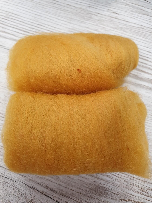 Carded Felting Wool  20 g - Mustard