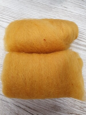 Carded Felting Wool  20 g - Mustard
