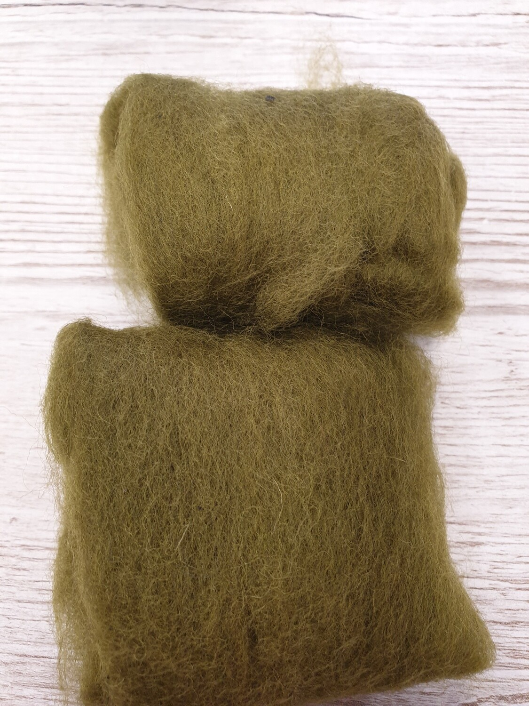 Carded Felting Wool  20 g - Olive