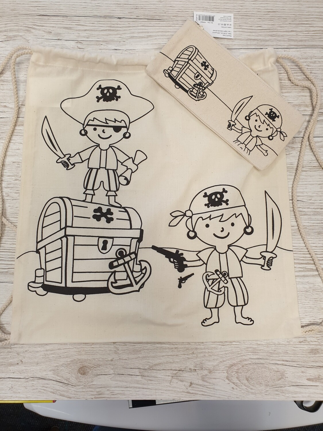 Colour Your Own Draw String Bag & Pencil Case - PIRATE TREASURE