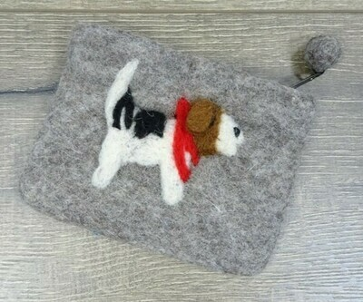 Large Felt Dog Purse. 12cm x 15cm