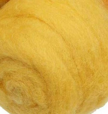 Carded Felting Wool  20 g - Yellow