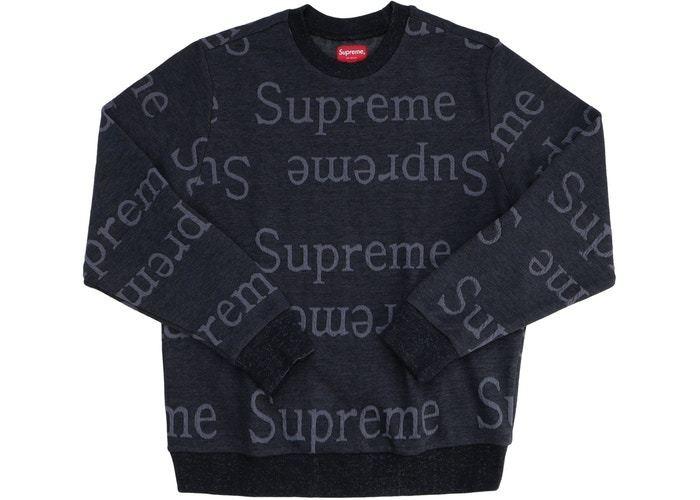 Supreme Jacquard Logo Crewneck Black