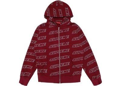 Supreme Repeat Zip-Up Hooded Sweatshirt Red