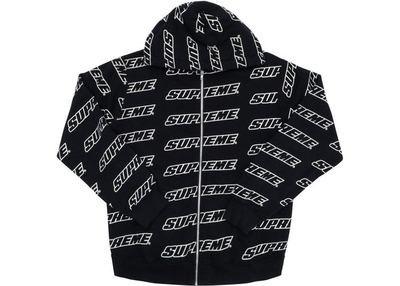 Supreme Repeat Zip-Up Hooded Sweatshirt Black