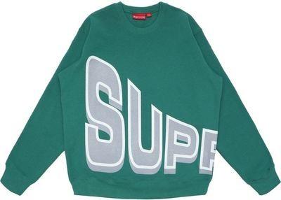 Supreme Green Big Letter Crewneck