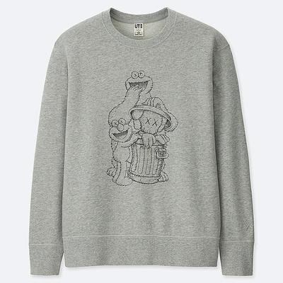 Kaws Sesame Graphic Crewneck Grey Cookie Monster