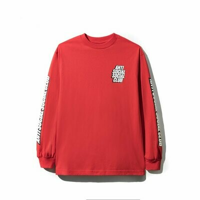 Anti Social Social Club Block Me Red Long Sleeve Tee