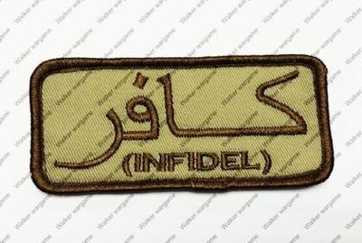 B2782 US Special Force Chapter Morale Patch With Velcro Infidel - Tan Colour