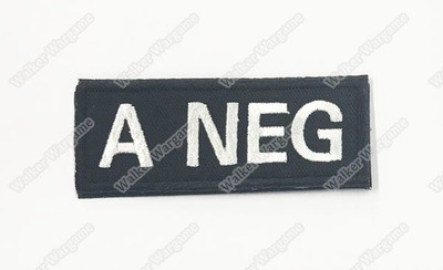 WG040B US Army A NEG Blood Type Patch With Velcro - SWAT Black