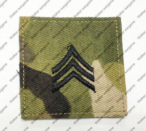 B166 US Army E-5 Sergeant (Sgt) Rank Patch With Velcro - Multicam Colour
