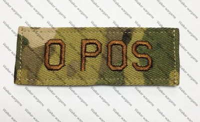 B617 US Army O POS Blood Type Patch With Velcro - Multicam Colour
