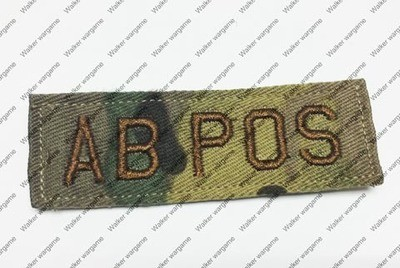 B618 US Army AB POS Blood Type Patch With Velcro - Multicam Colour