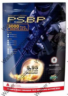 G&G 0.20G P.S.B.P. Perfect Spherical Seamless 6mm Airsoft BBs - 3000rd