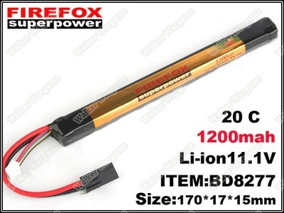 L FireFox Stick Type 11.1V 1200mah 20C LiPo Li-Polymer Battery (RC, All Airsoft Gun AEG)