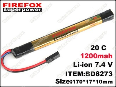 L FireFox Stick Type 7.4V 1200mah 20C LiPo Li-Polymer Battery (RC, All Airsoft Gun AEG)