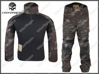 Combat Set Shirt & Pants Build in Elbow & Knee Pads - US Special Force Black Multicam