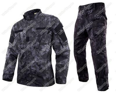 BDU Battle Dress Uniform Full Set - Special Force Night OPS Black TYP Typhon Camo