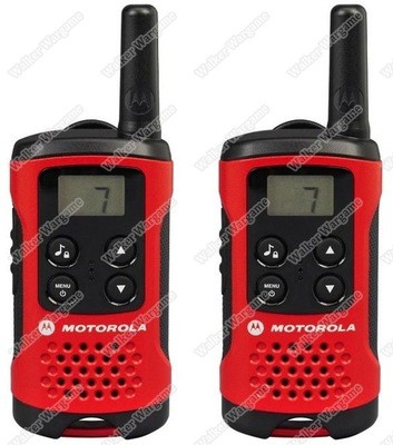 Motorola Talker TLKR T40 2 Way Walkie Talkie Radio 4KM Range - Black/Red (Pack of 2)