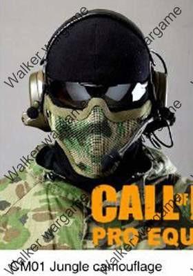 Stalker Type V1 Half Face Metal Mesh Mask - Woodland Camo