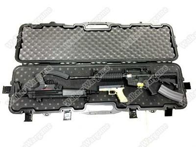 123CM Rifle Carrying Case With Foam ( 6 Metal Latche, Lockable) - SWAT Black