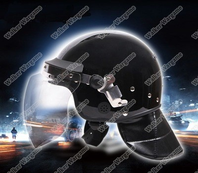 Tactical Anti Riot Helmet With Face Polycarbonate Visor And Leather Neck Protector