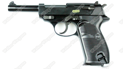 WE Full Metal Heavy Weight Walther Waffenwerke P38 Airsoft Gas Blow Back Pistol - Black